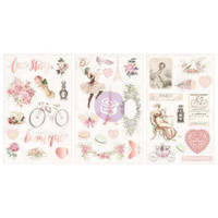 Prima Marketing, Love Story Chipboard Stickers - Icons With Pink Glitter & Foil Accents