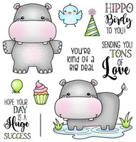 Darcie's Heart & Home Cling Stamp Set - Hippo Birdie To You