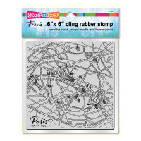 Stampendous 6 x 6 Cling Rubber Stamp - Paris Map