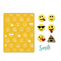 Sizzix Thinlits Die Set 10PK With Textured Impressions by Lindsey Serata - Smile Emojis