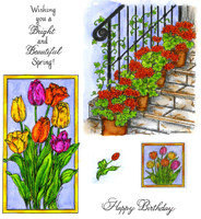 Northwoods Rubber Cling Stamps - Geraniums & Framed Tulips