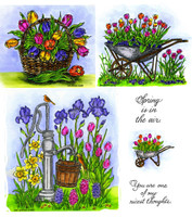 Northwoods Rubber Cling Stamps - Water Pump & Wheelbarrow