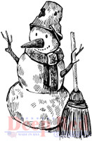 Deep Red Rubber Cling Stamps - Snowman with Broom