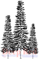 Deep Red Rubber Cling Stamps - Three Pines
