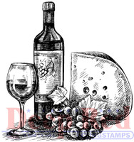 Deep Red Rubber Cling Stamps - Wine and Cheese