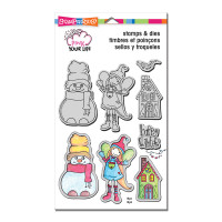 Stampendous Pink Your Life Stamps and Dies Set, Whisper Friends - Happy Winter