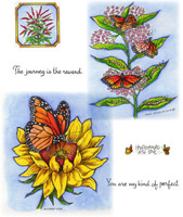 Northwoods Rubber Cling Stamps - Monarchs on Sunflower