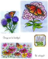 Northwoods Rubber Cling Stamps - Monarchs on The Phlox