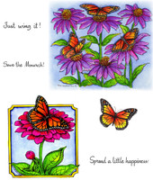Northwoods Rubber Cling Stamps - Monarchs & Coneflower