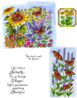 Northwoods Rubber Cling Stamps - Monarchs in Butterfly Garden