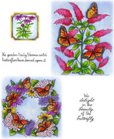 Northwoods Rubber Cling Stamps - Monarchs on Butterfly Bush