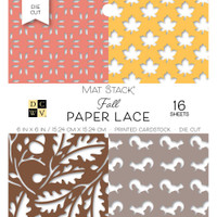"DCWV Single-Sided Cardstock Stack 6""X6"" 16/Pkg - Fall Paper Lace"