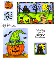 Northwoods Rubber Cling Stamps - Haunted House and Jack