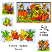 Northwoods Rubber Cling Stamps - Maple Border and Pumpkins