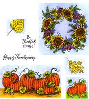 Northwoods Rubber Cling Stamps - Sunflower Wreath and Pumpkin Border
