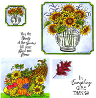 Northwoods Rubber Cling Stamps - Sunflower Vase and Cornucopia