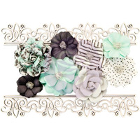 Prima Marketing, Flirty Fleur Mulberry Paper Flowers 8/Pkg - Simple Things With Lasercut Chipboard