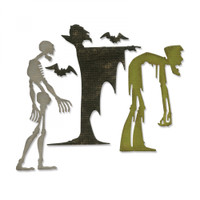 Sizzix Thinlits Die Set 4PK  by Tim Holtz - Ghoulish