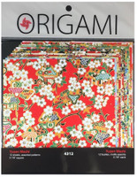 "Yasutomo Origami Paper 12/pkg 5 7/8"" -  Authentic Yuzen Red"