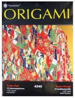 "Yasutomo Origami Paper 10/pkg 4 5/8"" -  Yuzen Red"