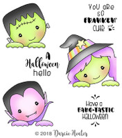 Darcie's Heart & Home Cling Stamp Set - Peeking Ghouls