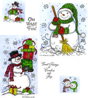 Northwoods Rubber Cling Stamps - Snowman With Presents, Scarf And Broom