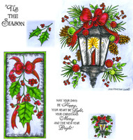 Northwoods Rubber Cling Stamps - Holiday Lamp Light And Holly Swag