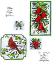 Northwoods Rubber Cling Stamps - Christmas Bells And Cardinal