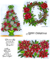 Northwoods Rubber Cling Stamps - Rose Wreath, Rose And Mum