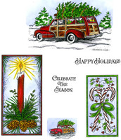 Northwoods Rubber Cling Stamps - Station Wagon, Candle And Candle Cane