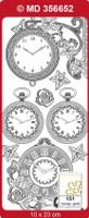 Doodey Peel Off Stickers - Clocks (Transparent Gold)