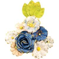 Prima Marketing, Georgia Blues Mulberry Paper Flowers 12/Pkg - Monroe