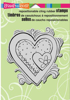 Stampendous Cling Rubber Stamp - Pen Pattern Heart