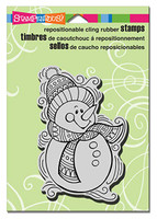 Stampendous Cling Rubber Stamp - Pen Pattern Snowman