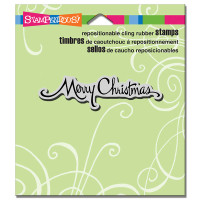 Stampendous Cling Rubber Stamp - Retro Scripe Christmas