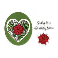 Sizzix Framelits Die Set 5PK With Stamps By Jen Long - Poinsettia Wreath