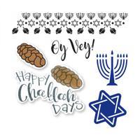 Sizzix Framelits Die Set 6PK With Stamps By Lindsey Serata - Happy Challah Days