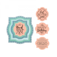 Sizzix Framelits Die Set 6PK With Stamps By Katelyn Lizardi - Layered Labels