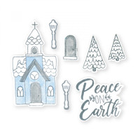 Sizzix Framelits Die Set 9PK With Stamps By Katelyn Lizardi - Church, Peace on Earth