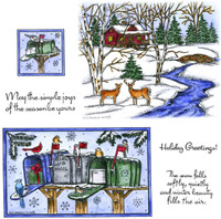 Northwoods Rubber Cling Stamps - Bird, Mailbox, Cabin and Stream