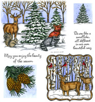 Northwoods Rubber Cling Stamps - Woodland Friends