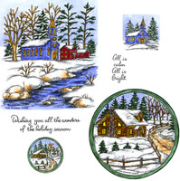 Northwoods Rubber Cling Stamps - Winter Church and Cabin