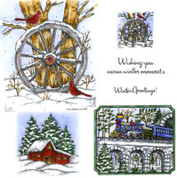 Northwoods Rubber Cling Stamps - Wagon Wheel and Winter Train