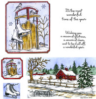 Northwoods Rubber Cling Stamps - Chickadees, Sled and Winter Shed