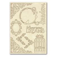 Stamperia Wooden Frames A5 Size - Writings And Corners