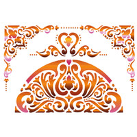 Stamperia Large Stencils - Semi Circle With Border