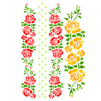 Stamperia Large Stencils - Bordure With Roses And Dots