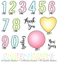 Darcie's Heart & Home Cling Stamp Set - Balloon Numbers