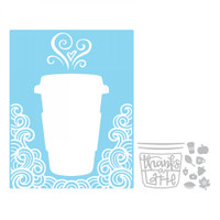 Sizzix Impresslits Embossing Folder - Thanks a Latte
