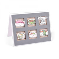 Sizzix Framelits Die Set 6PK With Stamps by Jen Long - Sushi Roll
